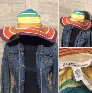 BCBG rainbow stripe floppy sun hat